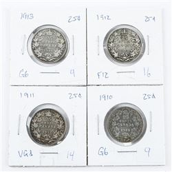 Lot (4) Canada 925 Silver 25 Cent: 1911, 1912, 191
