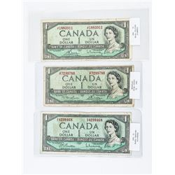 Group of (3) Bank of Canada 1954 1.00 Modified Por