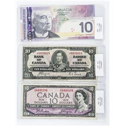 Group of (3) Bank of Canada 10.00 1937, 1954, 2005