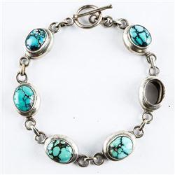 Estate 925 Silver Turquoise Bracelet