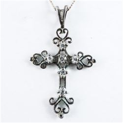 Estate 925 Silver Cross Pendant and Chain