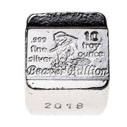 .999 Fine Silver 10oz Beaver Cube - Canada Sourced