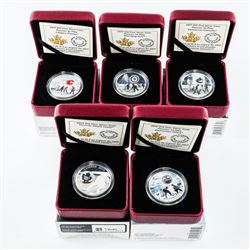 Group (5) .9999 Fine Silver $10.00 Coin - NHL Hock