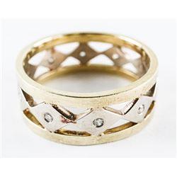 Estate Fancy 10kt Diamond Band Ring - Size 7