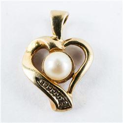 Estate 10kt Gold Culture Pearl Pendant