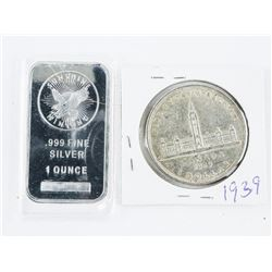 1939 CANADA Silver Dollar Plus 1oz Silver Bar
