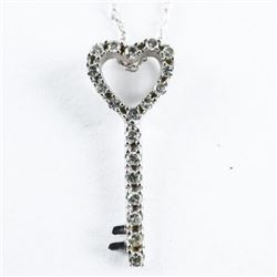 Estate 10kt Gold Diamond Key Pendant and Chain
