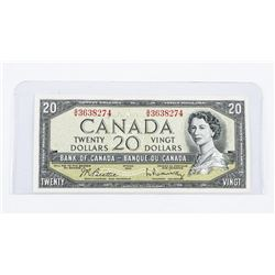 Bank of Canada 1954 20.00 Modified Portrait. (EF+)