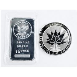 Lot (2) Collector Bullion .9999 Fine Silver Canada