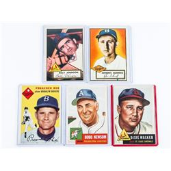 Group of (5) TOPPS Baseball Cards, 1952-1953-1954