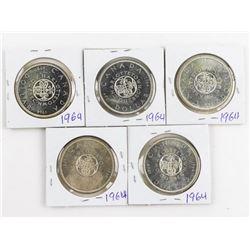 Lot (5) 1964 CANADA Silver Dollars