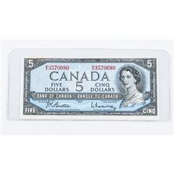 Bank of Canada 1954 Modified Portrait. 5.00 B/R (B