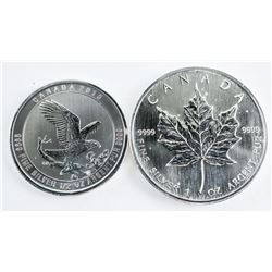 Collector Bullion Lot (2) .9999 Fine Silver Coins