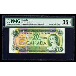Scarce - 1969 $20 Printing Error BC-50A Single Fold Error; 2 Letters B/R Series D, Prefix ED. PMG VF