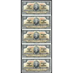 Rare - (5) 1937 $100 Consecutive BC-27C Coyne-Towers, Series B, Prefix B/J, UNC-60.