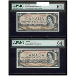 Scarce - 1954 $100 Consecutive BC-35A Coyne-Towers Series A, Prefix A/J, PMG Choice UNC-64.