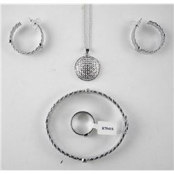 4PC Jewellery Set, Silver Earring/Pendant and Chai