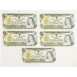 (5) x Bank of Canada 1973 100 (BAX), LB, UNC BC46b