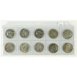 Lot (10) US Kennedy 50 Cent Mixed