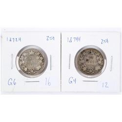 Lot (2) Silver Canada 25 cent: 1872H and 1874H