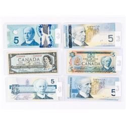 Group of (6) Bank of Canada 5.00 Notes: 1954, 1979
