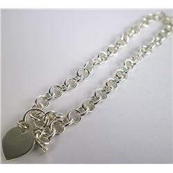 Estate 925 Link Silver Choker Style Necklace - 68