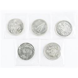 Lot (5) Canada Silver 50 cent Mixed