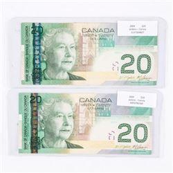 Bank of Canada Lot (2) 2004 20.00 Match Set Signat