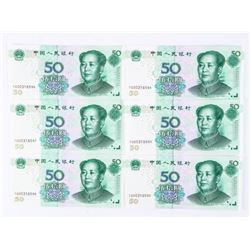 Group of (6) (2005) China 50 YUAN In Sequence Scar