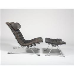 Arne Norell-Lounge chair and ottoman
