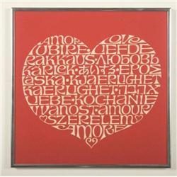 Alexander Girard-Love fabric panel (red & white)