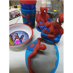 Spiderman bathroom set and night light with cup and bowl