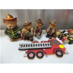 Firemen Bears and firetruck and fire department wall décor