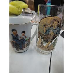 Norman Rockwell coke glass and Norman rockwell cup