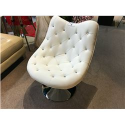 WHITE TUFTED LEATHER GAS LIFT JEWEL ACCENTED SWIVEL CHAIR