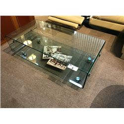 MODERN DESIGN GLASS COFFEE TABLE WITH CASTERS AND MATCHING END TABLE