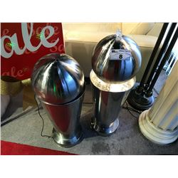 PAIR OF APPROX. 3' STAINLESS STEEL DECORATIVE WATER FOUNTAINS