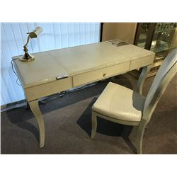 WRITING DESK WITH FAUX CROCODILE SKIN FINISH AND MATCHING CHAIR, COMES WITH DESK LAMP, EST.