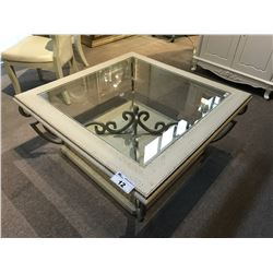 TRADITIONAL STYLE GLASS TOP COCKTAIL TABLE, 3.5' SQUARE, RP: $1,900