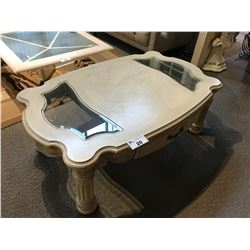 MICHAEL AMINI TRADITIONAL STYLE GLASS ACCENTED COFFEE TABLE WITH 2 DRAWERS, RP: $1,988