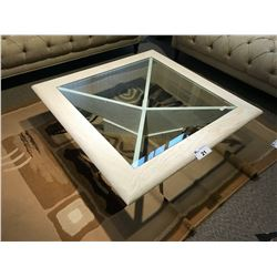 MODERN DESIGN STONE AND GLASS TOP 3.5' COFFEE TABLE, RP: $3,999