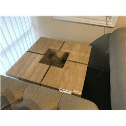 STONE 2.5' TRAVERTINE INLAY END TABLE, RP: $1,999
