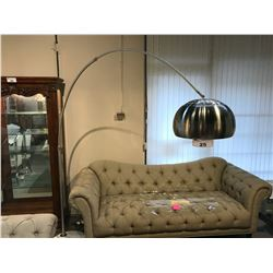 MODERN DESIGN STAINLESS STEEL AND STONE BASE ARC FLOOR LAMP