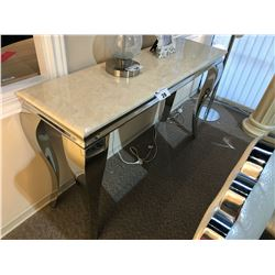 STONE AND CHROME FRAME 4.5' CONSOLE TABLE, RP: $3,999