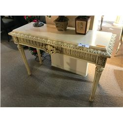 POLREY STONE TOP 4' TRADITIONAL CARVED DESIGN CONSOLE TABLE, RP: $3,999