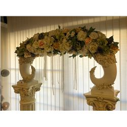 ARCHWAY TOPPER WITH FLORAL DECORATIONS, APPROX. 2.5' TALL, RP: $1,999, PILLARS NOT INCLUDED