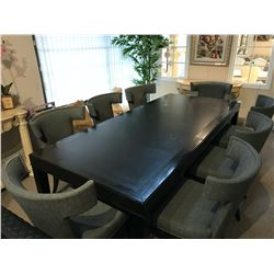 DARK WOOD 8.5' X 3.5' DINING TABLE WITH 2 LEAVES, COMES WITH 8 MATCHING GREY UPHOLSTERED DINING