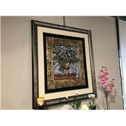 GOLD SILVER AND BRONZE FLORAL DESIGN WALL ART, 3.5' X 3'