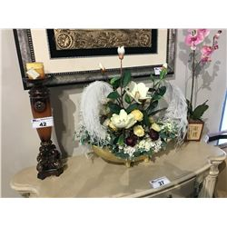 ASSORTED DECOR ITEMS IN AREA INC. FAUX PLANTS, CANDLE HOLDERS, AND STUFFED BEARS