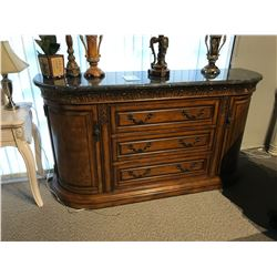 MARBLE TOP 6' TRADITIONAL DESIGN CHINA CABINET, 3 DRAWERS, 2 CABINETS, RP: $11,999
